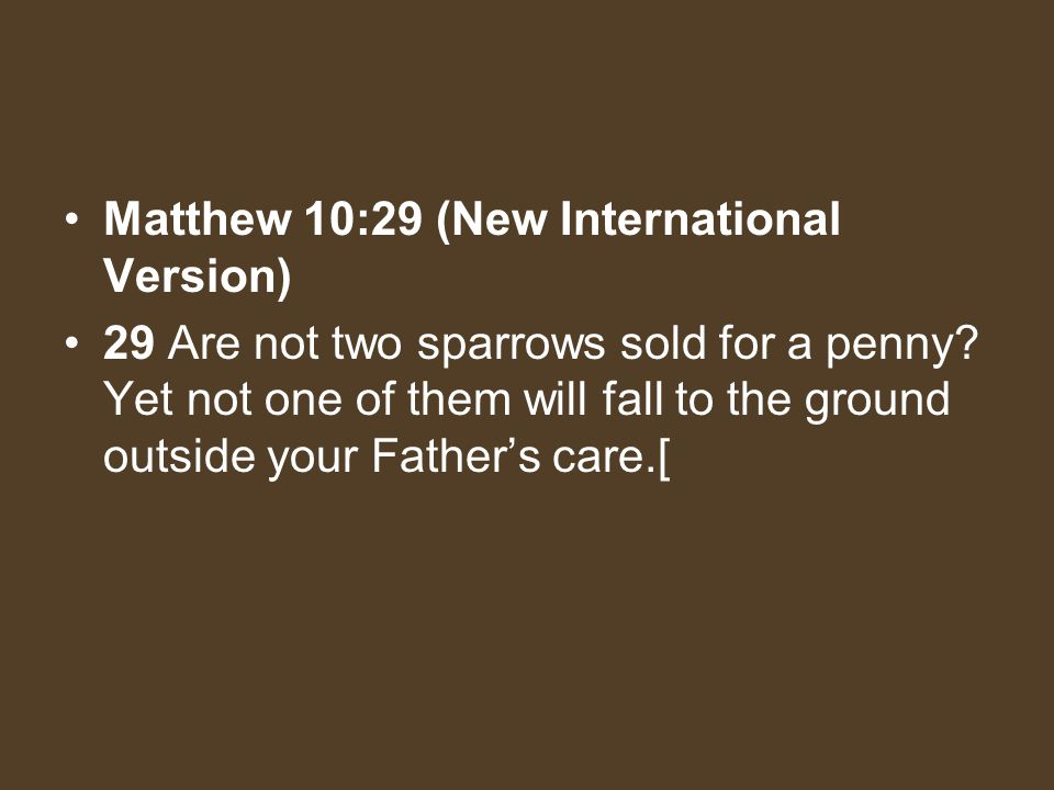 Matthew 10:29 (New International Version) 29 Are not two sparrows sold for a penny? Yet not one of them will fall to the ground outside your Fathers c