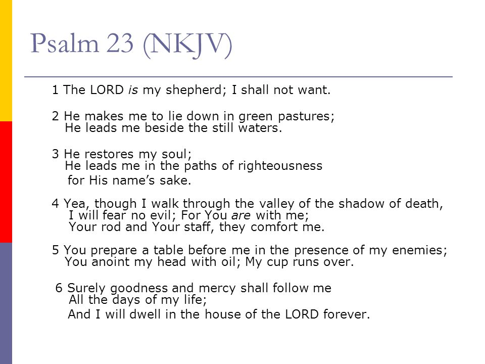 Psalm 23 (NKJV) 1 The LORD is my shepherd; I shall not want. 2 He makes me to lie down in green pastures; He leads me beside the still waters. 3 He re