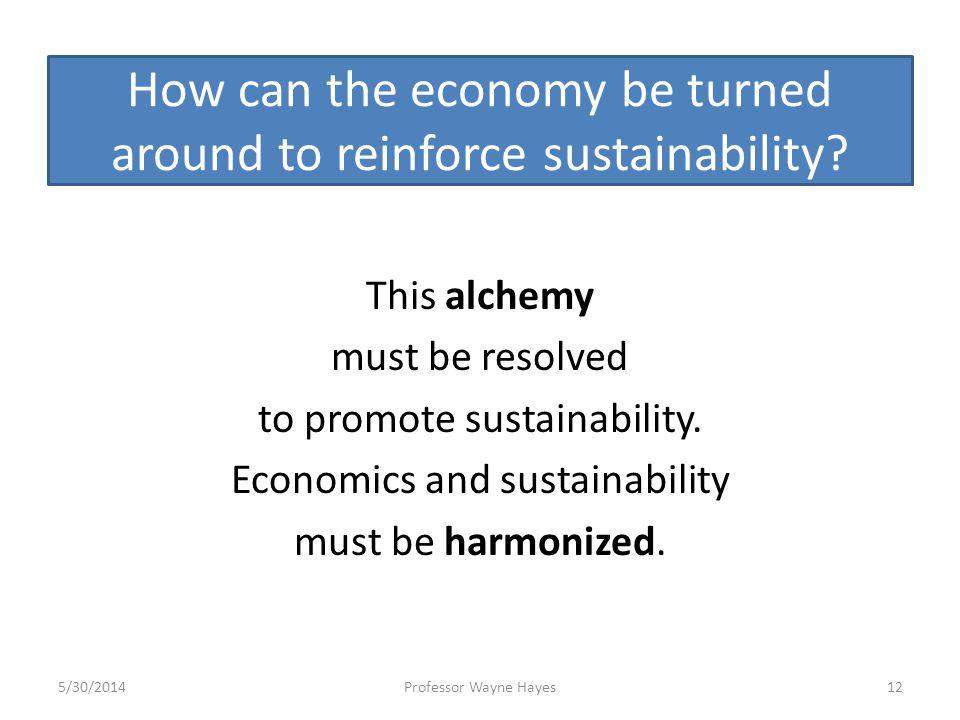 How can the economy be turned around to reinforce sustainability? This alchemy must be resolved to promote sustainability. Economics and sustainabilit