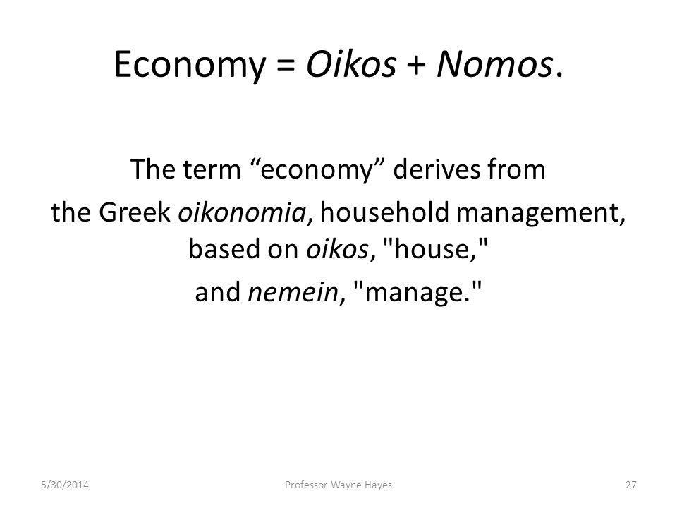 Economy = Oikos + Nomos. The term economy derives from the Greek oikonomia, household management, based on oikos,