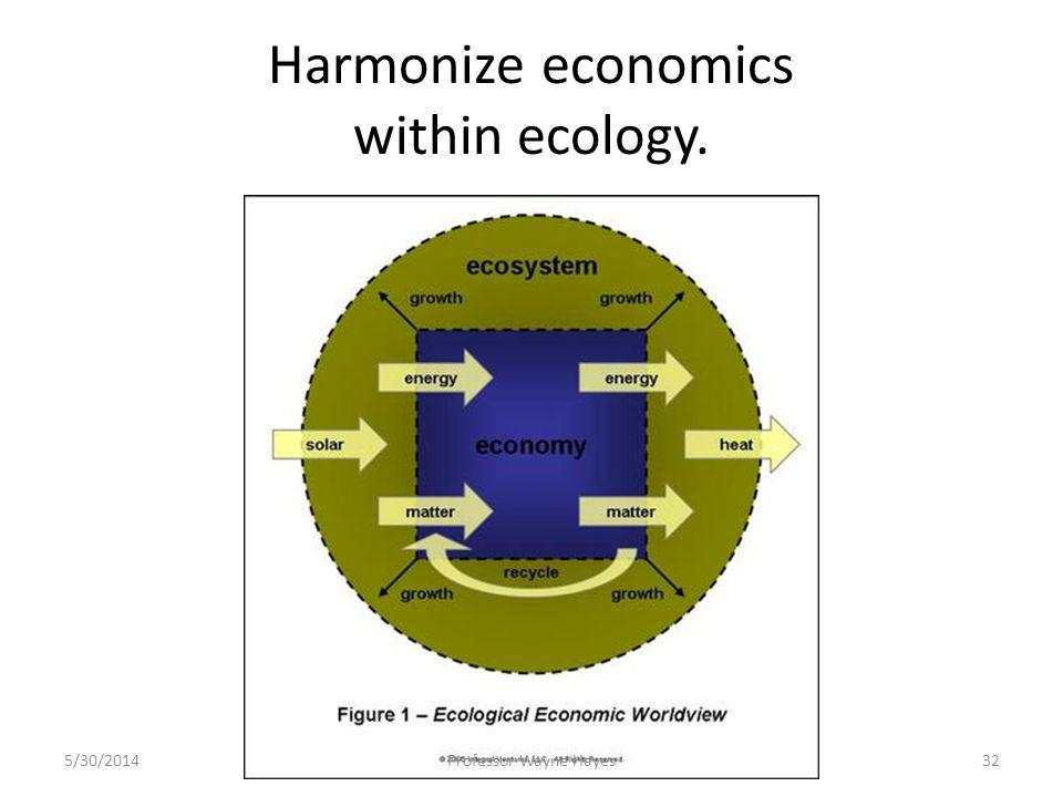 Harmonize economics within ecology. 5/30/2014Professor Wayne Hayes32