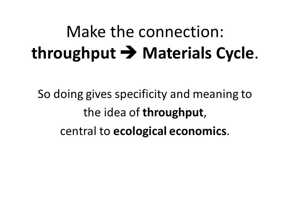 Make the connection: throughput Materials Cycle. So doing gives specificity and meaning to the idea of throughput, central to ecological economics.