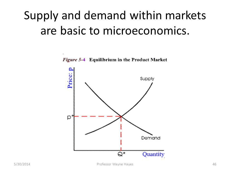 Supply and demand within markets are basic to microeconomics. 5/30/2014Professor Wayne Hayes46
