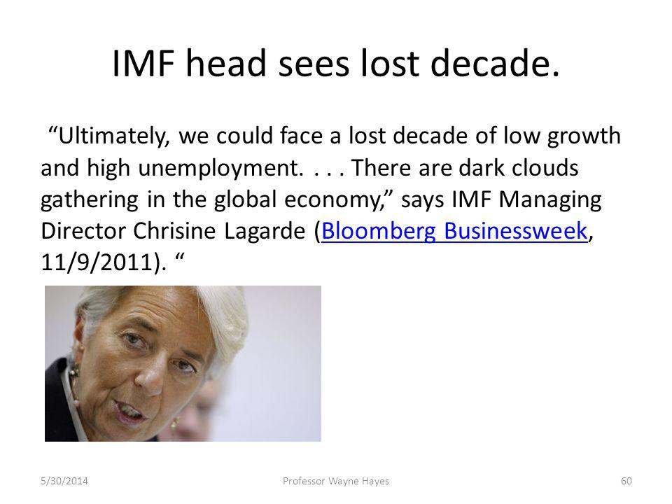 IMF head sees lost decade. Ultimately, we could face a lost decade of low growth and high unemployment.... There are dark clouds gathering in the glob