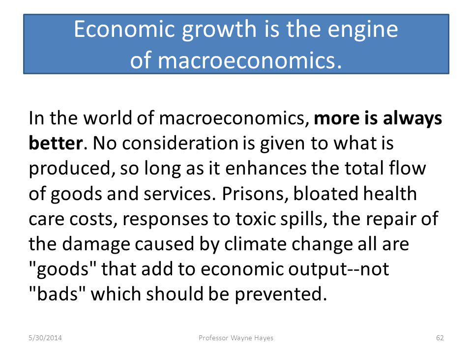 Economic growth is the engine of macroeconomics. In the world of macroeconomics, more is always better. No consideration is given to what is produced,