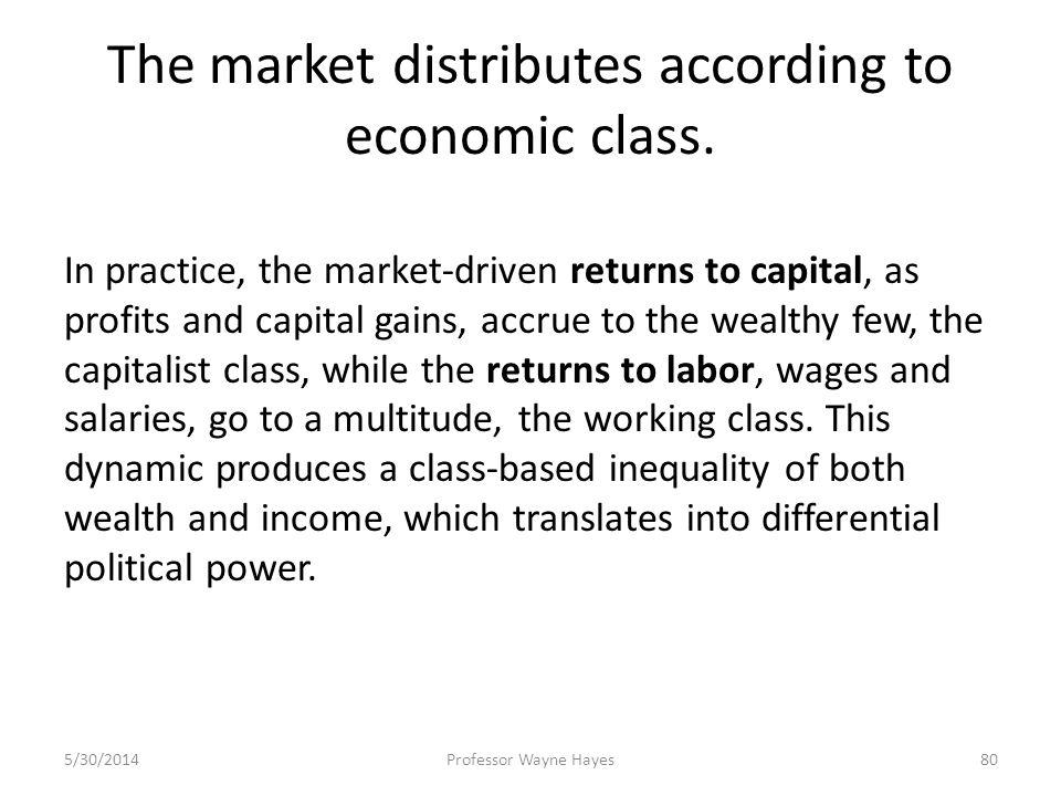 The market distributes according to economic class. In practice, the market-driven returns to capital, as profits and capital gains, accrue to the wea