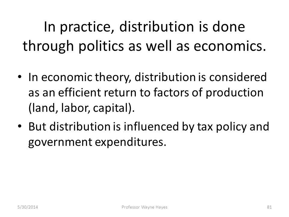 In practice, distribution is done through politics as well as economics. In economic theory, distribution is considered as an efficient return to fact