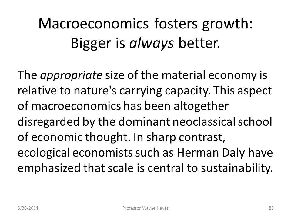 Macroeconomics fosters growth: Bigger is always better. The appropriate size of the material economy is relative to nature's carrying capacity. This a