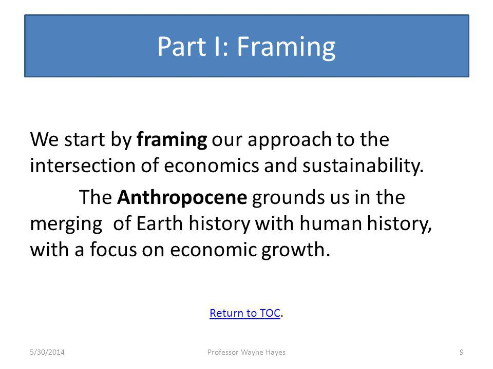 Part I: Framing We start by framing our approach to the intersection of economics and sustainability. The Anthropocene grounds us in the merging of Ea