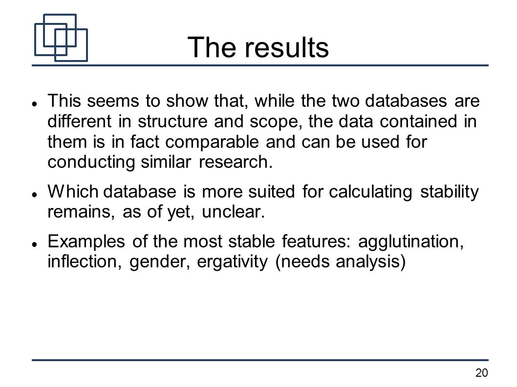 20 The results This seems to show that, while the two databases are different in structure and scope, the data contained in them is in fact comparable and can be used for conducting similar research.