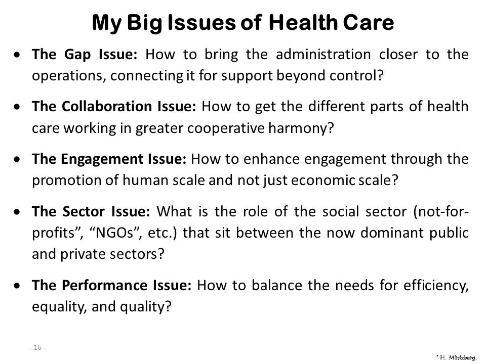 - 16 - My Big Issues of Health Care The Gap Issue: How to bring the administration closer to the operations, connecting it for support beyond control.