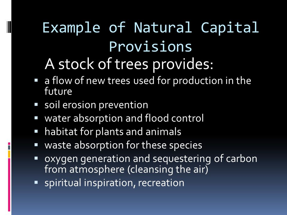 Example of Natural Capital Provisions A stock of trees provides: a flow of new trees used for production in the future soil erosion prevention water absorption and flood control habitat for plants and animals waste absorption for these species oxygen generation and sequestering of carbon from atmosphere (cleansing the air) spiritual inspiration, recreation