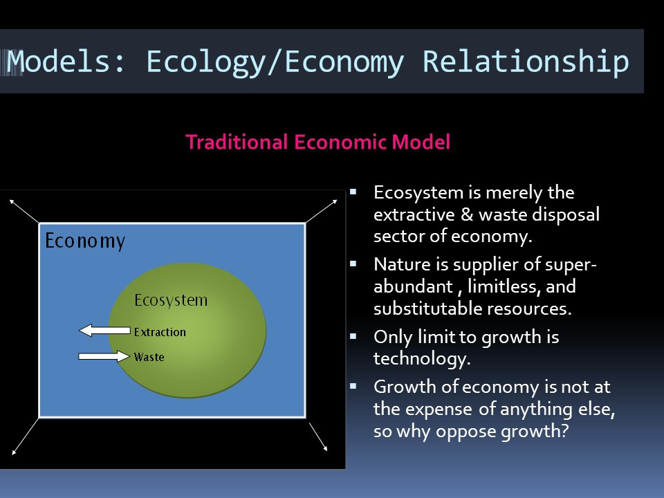 Models: Ecology/Economy Relationship Traditional Economic Model Ecosystem is merely the extractive & waste disposal sector of economy. Nature is suppl