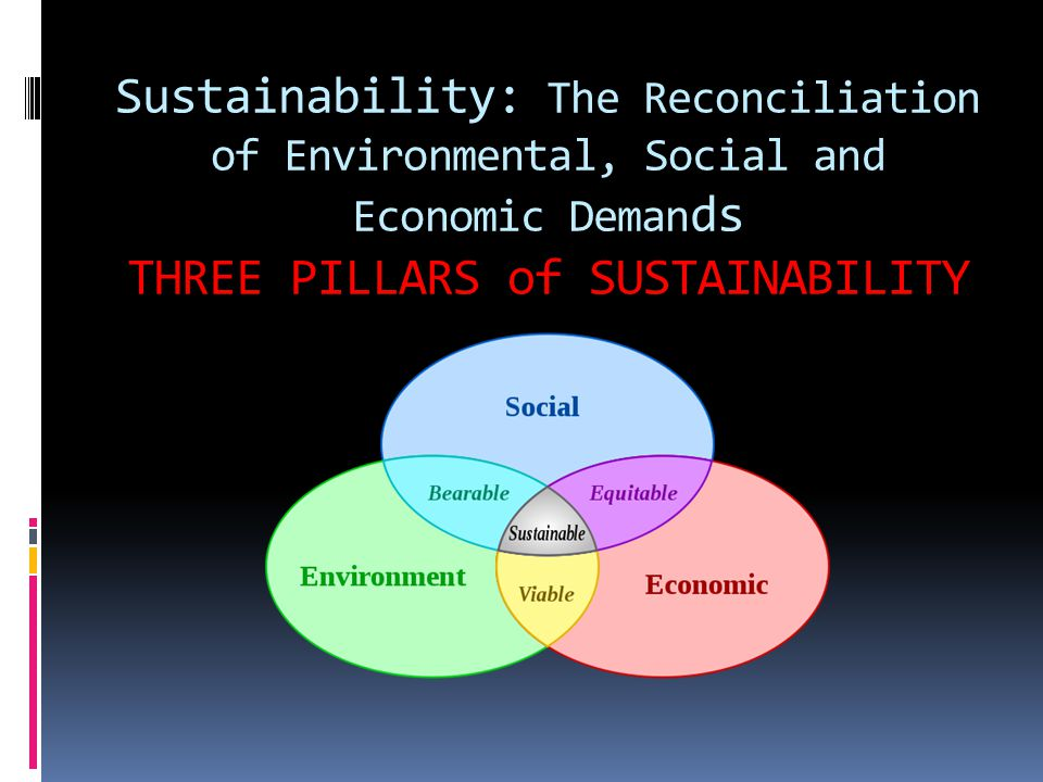 Sustainability: The Reconciliation of Environmental, Social and Economic Deman ds THREE PILLARS of SUSTAINABILITY