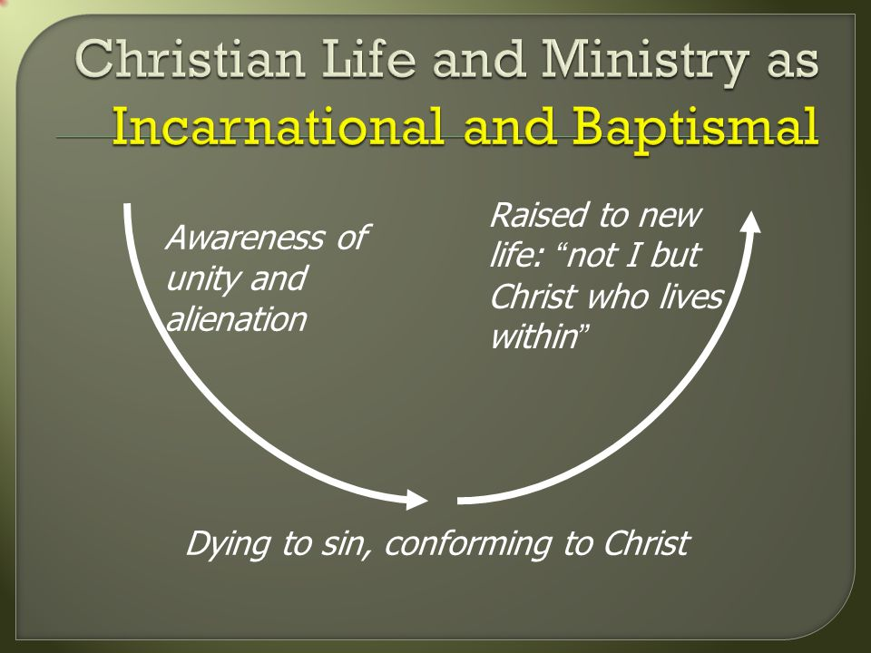 Awareness of unity and alienation Raised to new life: not I but Christ who lives within Dying to sin, conforming to Christ