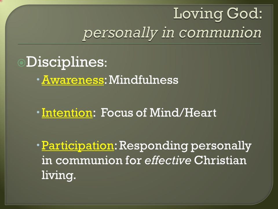 Disciplines : Awareness: Mindfulness Intention: Focus of Mind/Heart Participation: Responding personally in communion for effective Christian living.