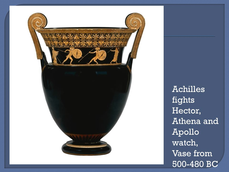 Achilles fights Hector, Athena and Apollo watch, Vase from 500-480 BC