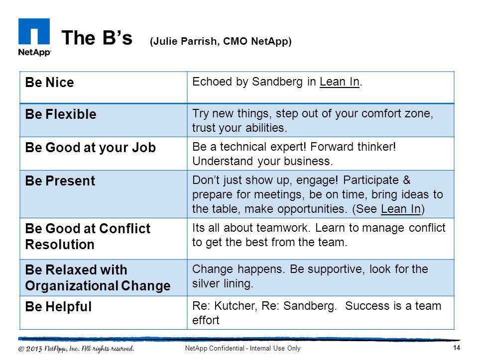 The Bs (Julie Parrish, CMO NetApp) Be Nice Echoed by Sandberg in Lean In. Be Flexible Try new things, step out of your comfort zone, trust your abilit