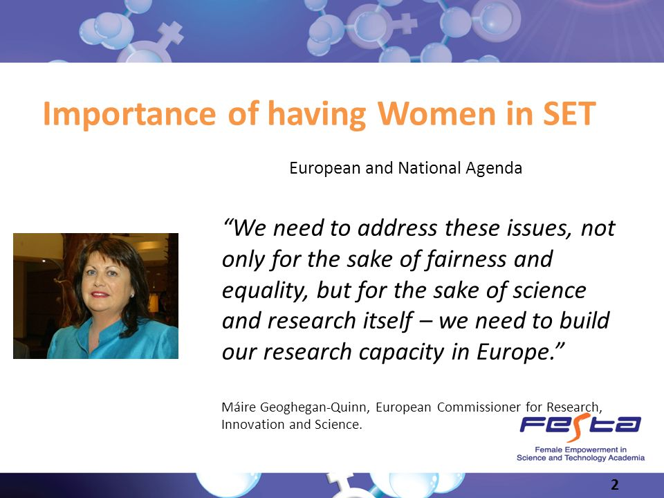 Slide 2 Importance of having Women in SET European and National Agenda We need to address these issues, not only for the sake of fairness and equality