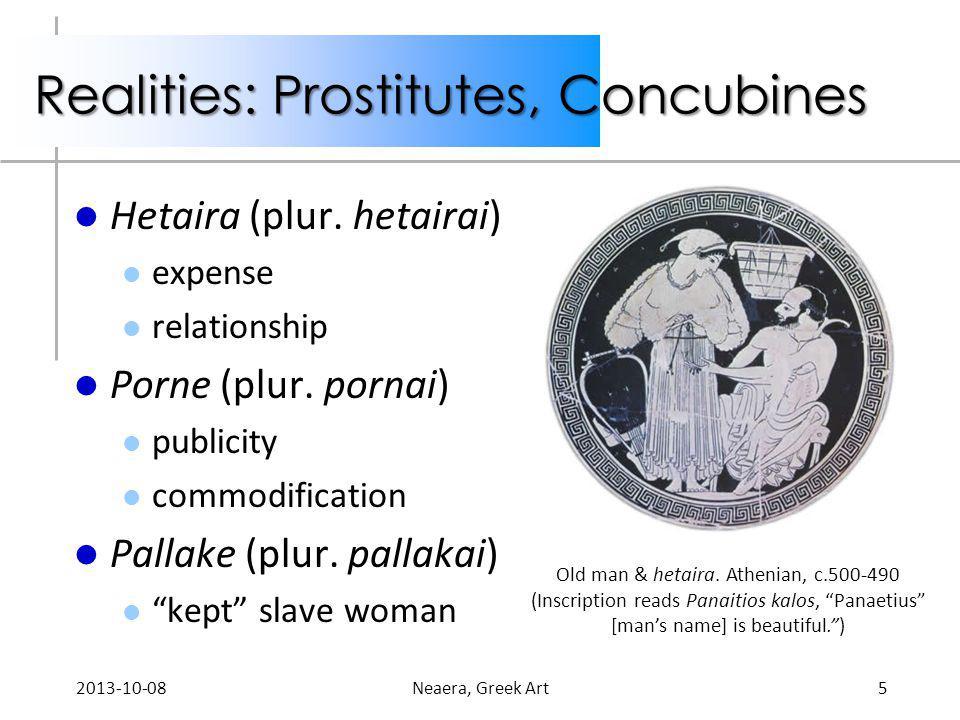 Realities: Prostitutes, Concubines Hetaira (plur. hetairai) expense relationship Porne (plur. pornai) publicity commodification Pallake (plur. pallaka