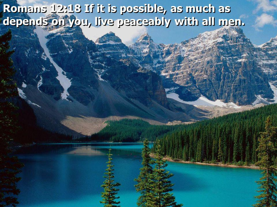 Romans 12:18 If it is possible, as much as depends on you, live peaceably with all men.