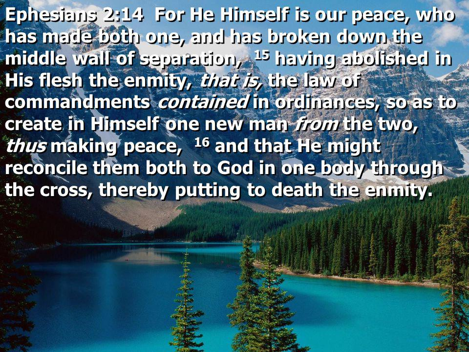 Ephesians 2:14 For He Himself is our peace, who has made both one, and has broken down the middle wall of separation, 15 having abolished in His flesh