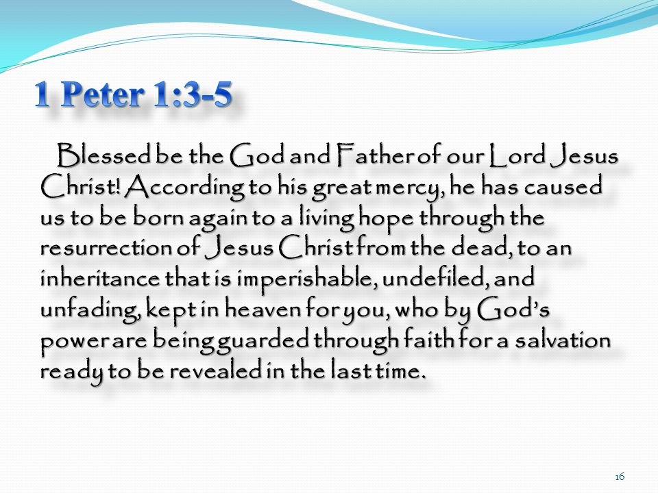 Blessed be the God and Father of our Lord Jesus Christ.
