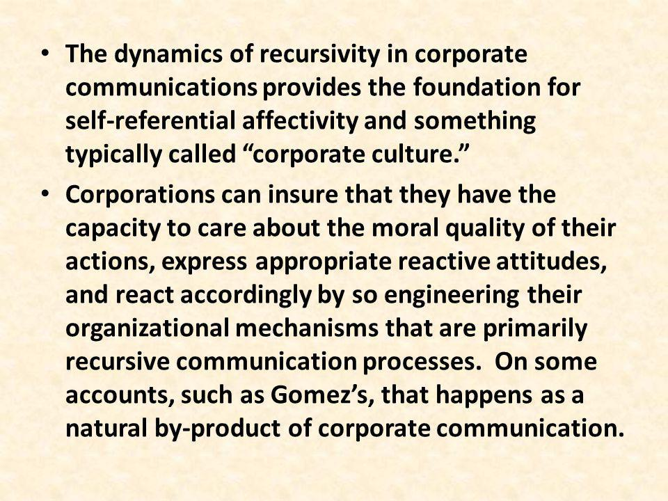The dynamics of recursivity in corporate communications provides the foundation for self-referential affectivity and something typically called corporate culture.