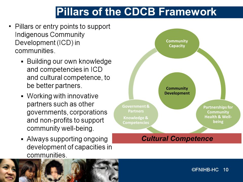 Pillars of the CDCB Framework Pillars or entry points to support Indigenous Community Development (ICD) in communities. Building our own knowledge and
