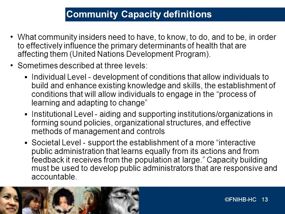 Community Capacity definitions What community insiders need to have, to know, to do, and to be, in order to effectively influence the primary determin