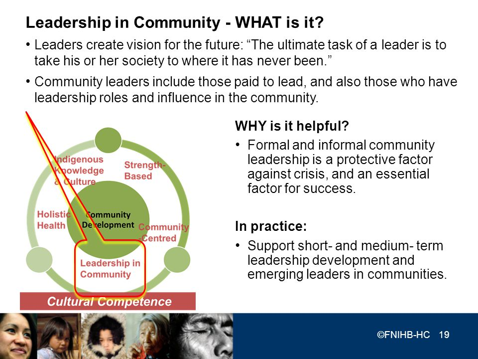 WHY is it helpful? Formal and informal community leadership is a protective factor against crisis, and an essential factor for success. In practice: S