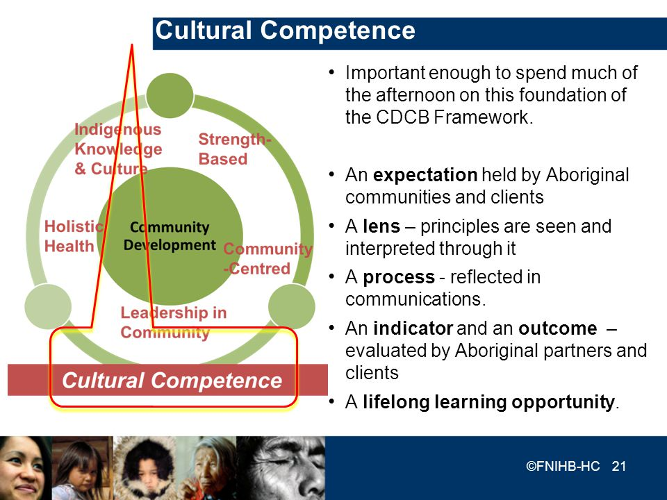 Cultural Competence Important enough to spend much of the afternoon on this foundation of the CDCB Framework. An expectation held by Aboriginal commun