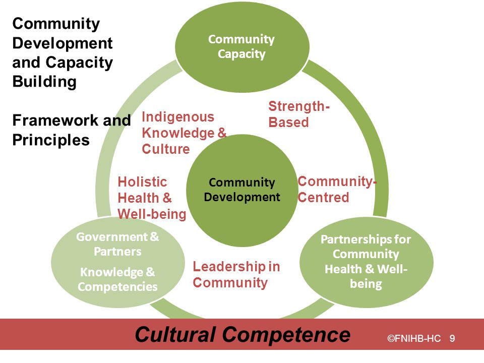 Community Development Community Capacity Partnerships for Community Health & Well- being Government & Partners Knowledge & Competencies Indigenous Kno