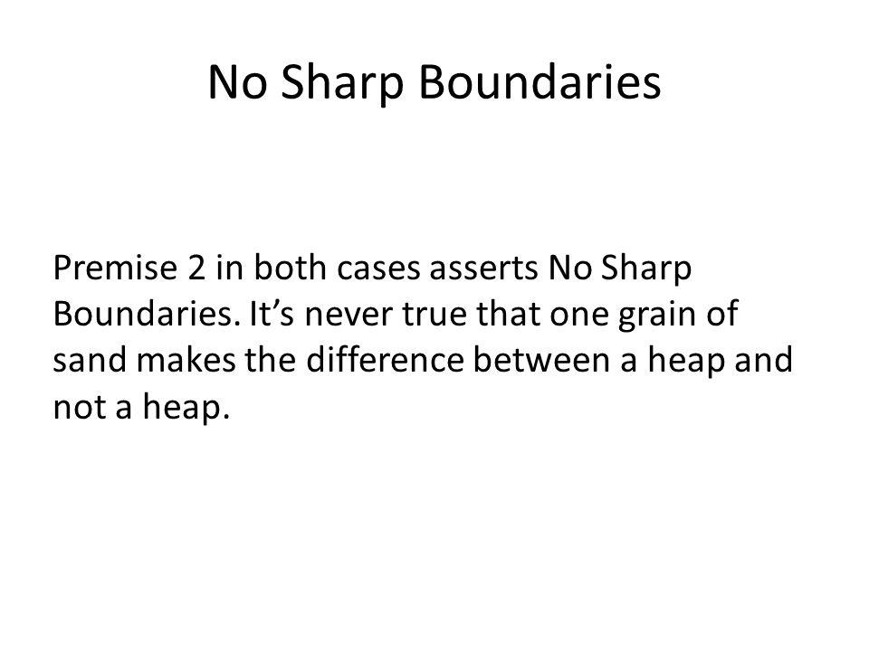 No Sharp Boundaries Premise 2 in both cases asserts No Sharp Boundaries.