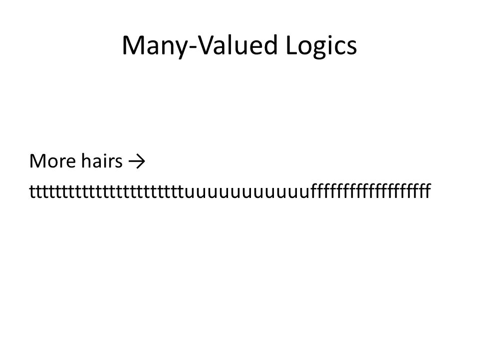 Many-Valued Logics More hairs tttttttttttttttttttttttuuuuuuuuuuufffffffffffffffffff