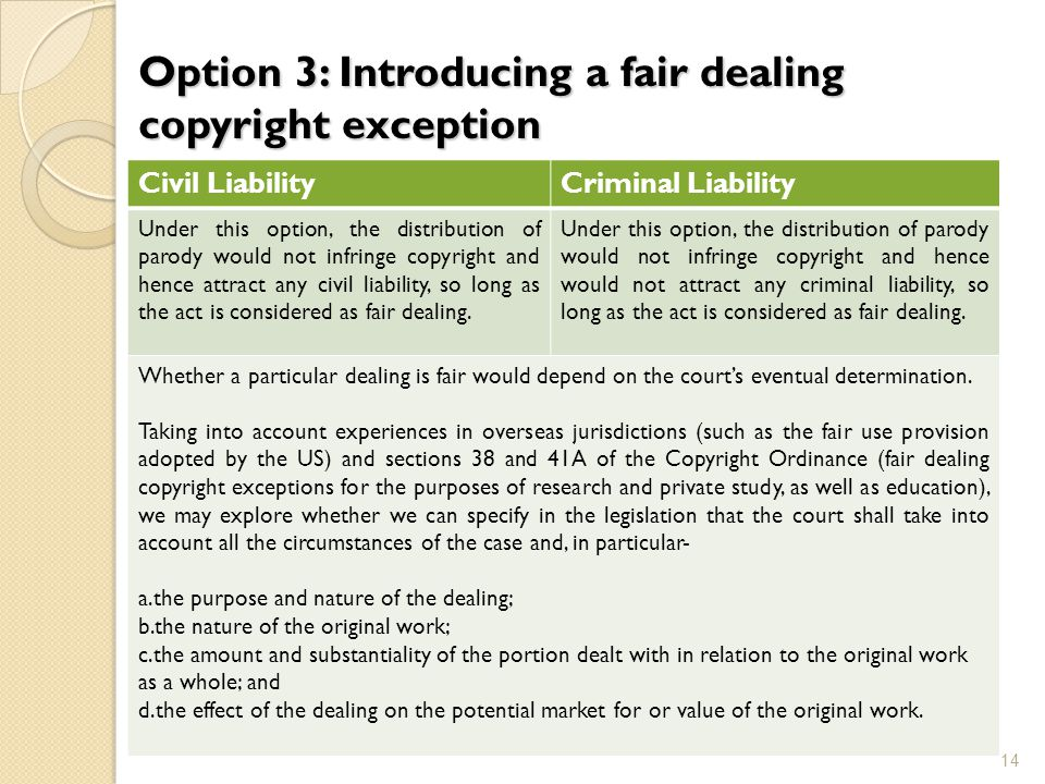 Option 3: Introducing a fair dealing copyright exception 14 Civil LiabilityCriminal Liability Under this option, the distribution of parody would not