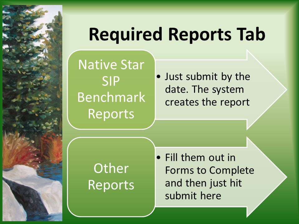 Just submit by the date. The system creates the report Native Star SIP Benchmark Reports Fill them out in Forms to Complete and then just hit submit h