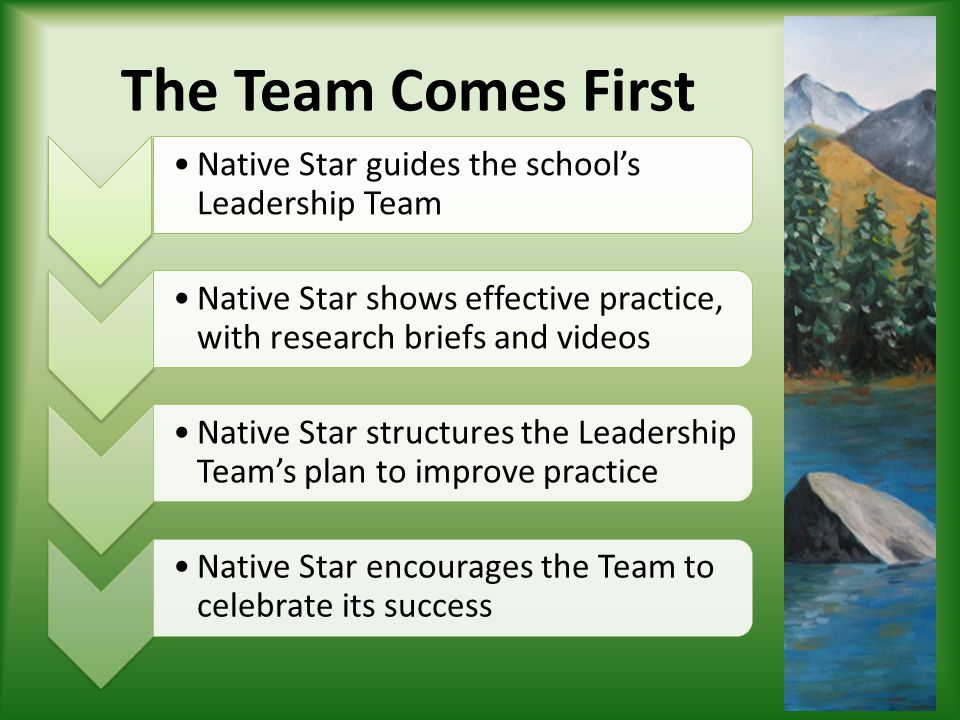 The Team Comes First Native Star guides the schools Leadership Team Native Star shows effective practice, with research briefs and videos Native Star