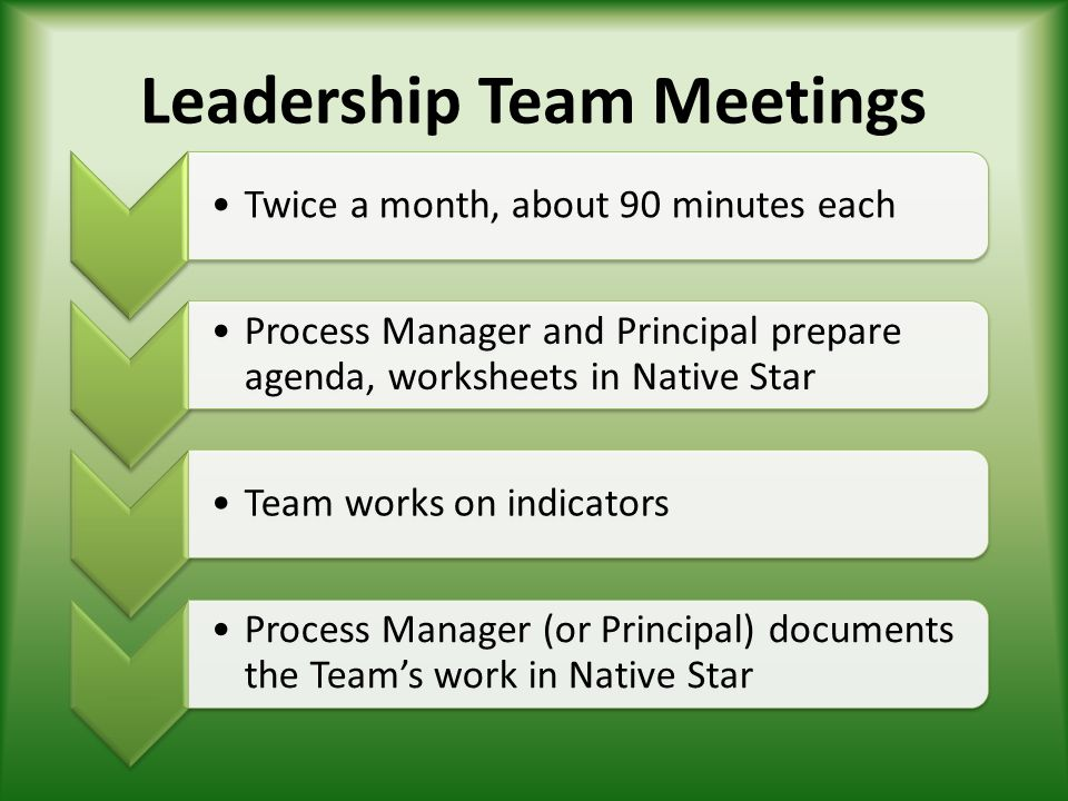 Leadership Team Meetings Twice a month, about 90 minutes each Process Manager and Principal prepare agenda, worksheets in Native Star Team works on in