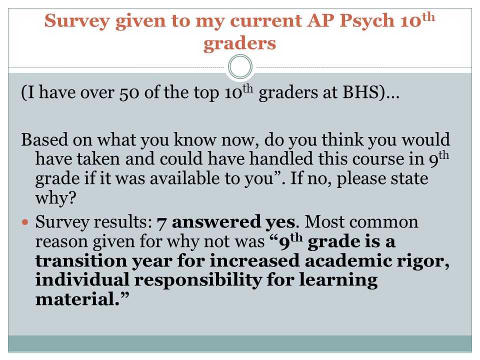 Survey given to my current AP Psych 10 th graders (I have over 50 of the top 10 th graders at BHS)… Based on what you know now, do you think you would have taken and could have handled this course in 9 th grade if it was available to you.