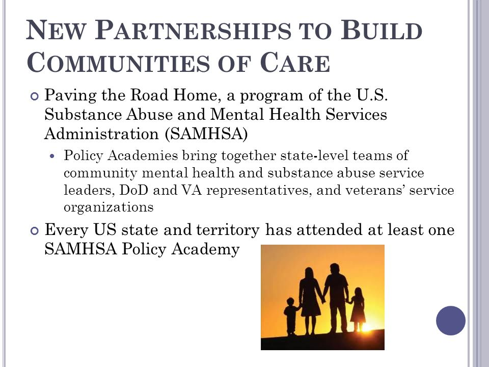 N EW P ARTNERSHIPS TO B UILD C OMMUNITIES OF C ARE Paving the Road Home, a program of the U.S. Substance Abuse and Mental Health Services Administrati