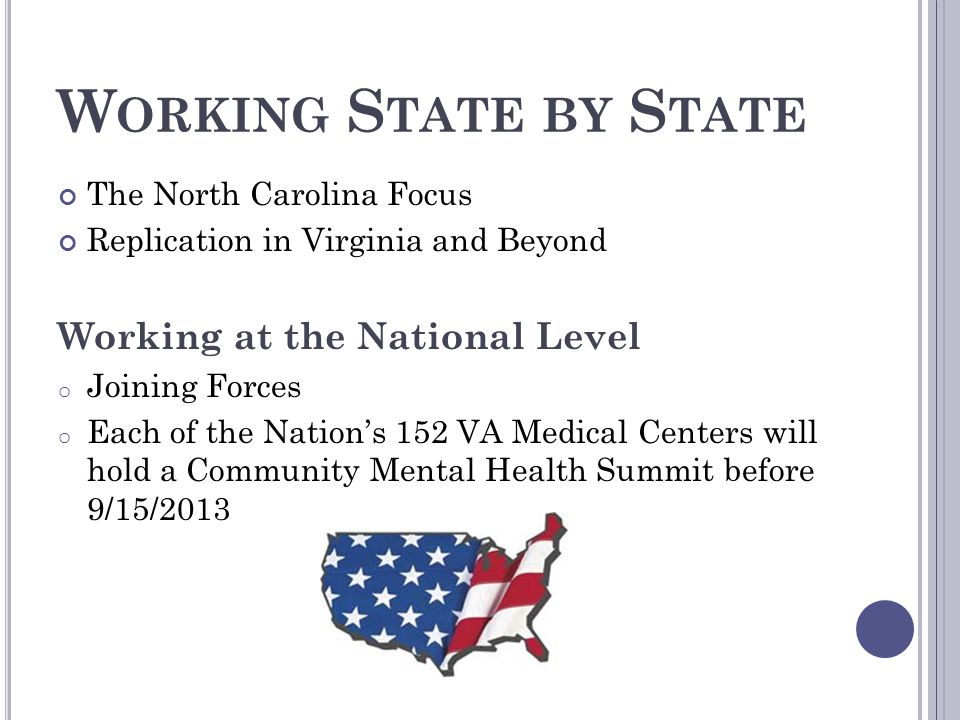 W ORKING S TATE BY S TATE The North Carolina Focus Replication in Virginia and Beyond Working at the National Level o Joining Forces o Each of the Nat