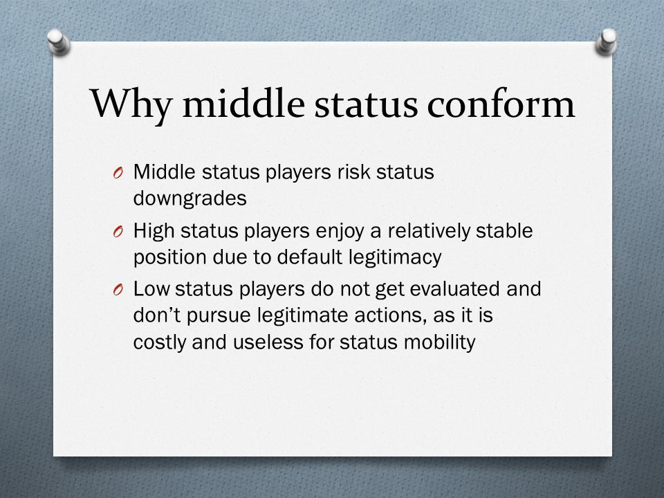 Why middle status conform O Middle status players risk status downgrades O High status players enjoy a relatively stable position due to default legit