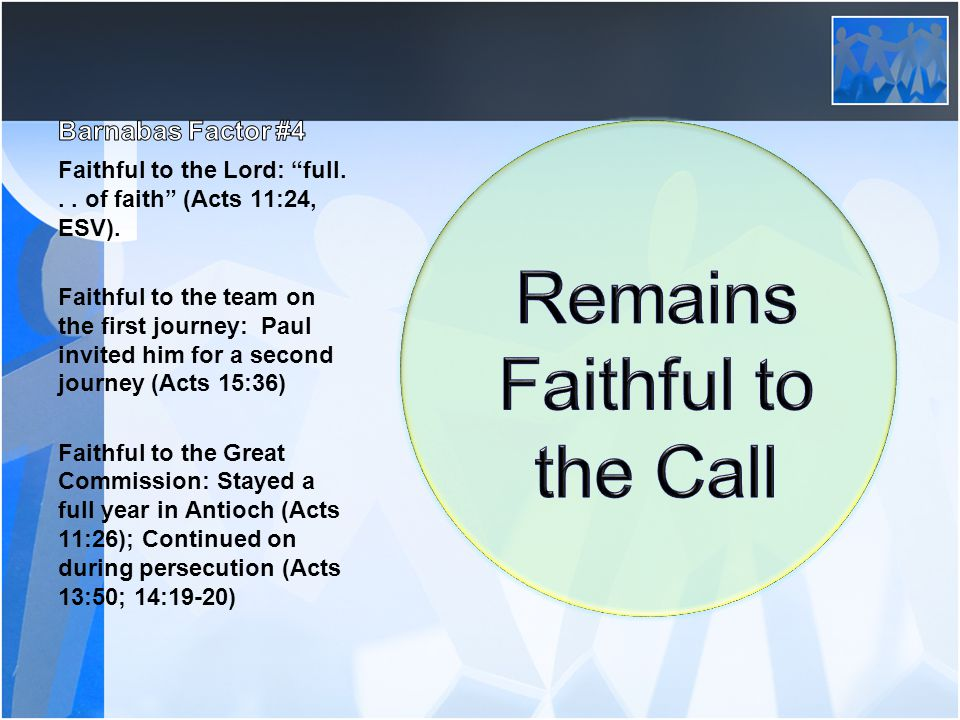 Faithful to the Lord: full... of faith (Acts 11:24, ESV).