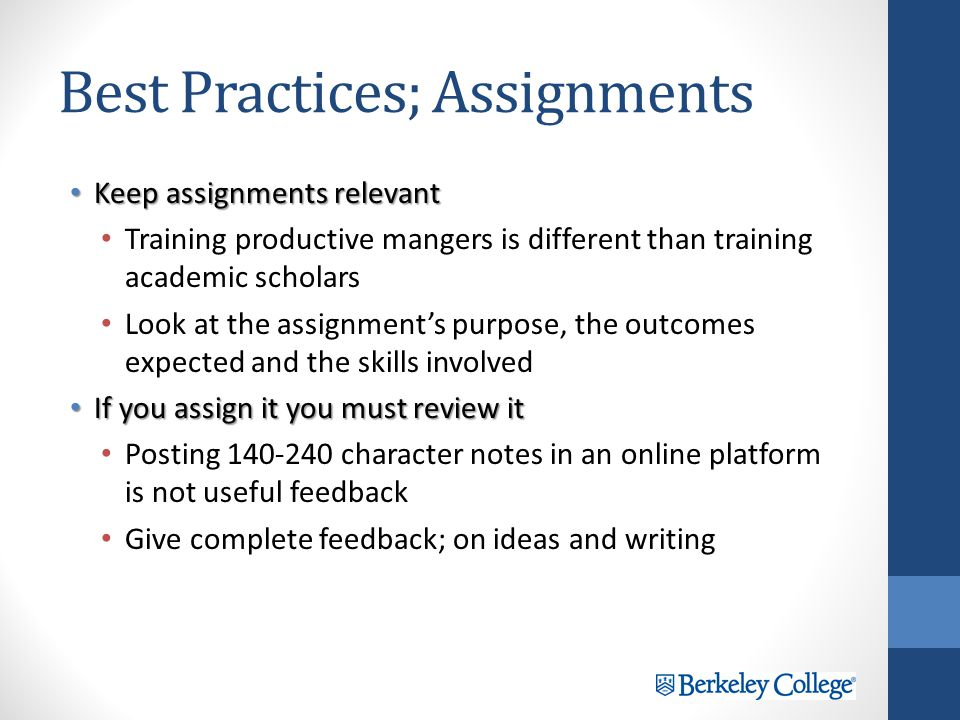 Best Practices; Frequent Assessments