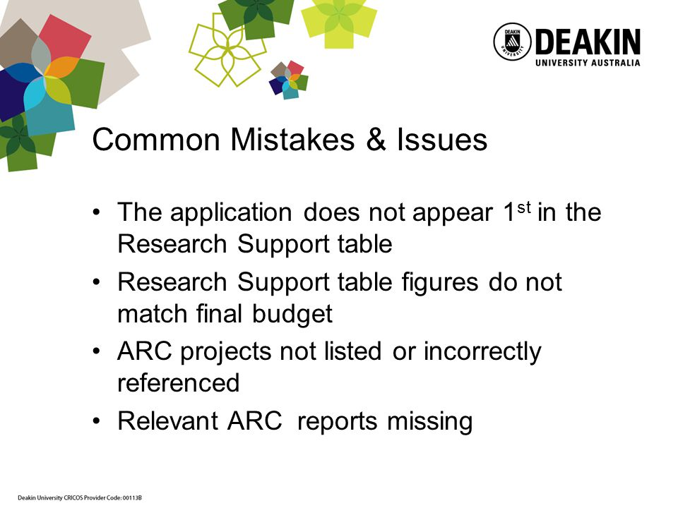 Common Mistakes & Issues The application does not appear 1 st in the Research Support table Research Support table figures do not match final budget ARC projects not listed or incorrectly referenced Relevant ARC reports missing