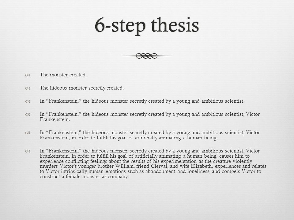 6-step thesis6-step thesis The monster created. The hideous monster secretly created.