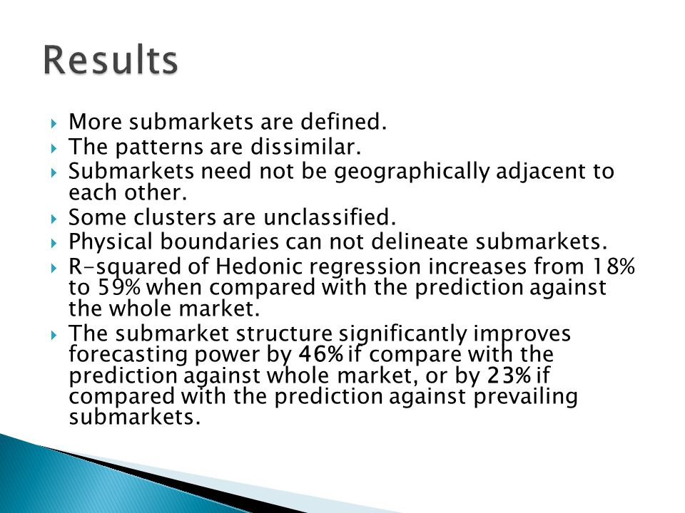 More submarkets are defined. The patterns are dissimilar. Submarkets need not be geographically adjacent to each other. Some clusters are unclassified