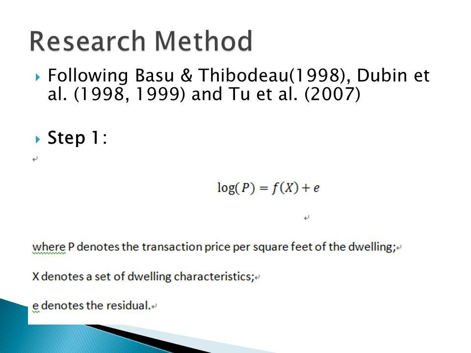 Following Basu & Thibodeau(1998), Dubin et al. (1998, 1999) and Tu et al. (2007) Step 1: