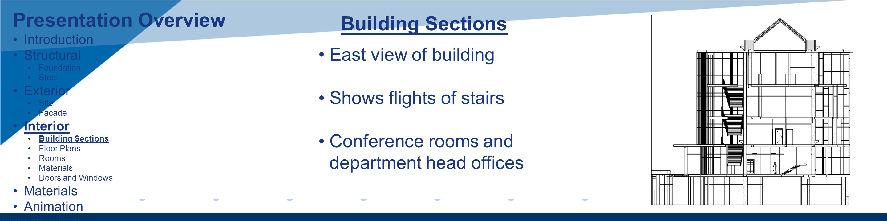 www.company.com Building Sections East view of building Shows flights of stairs Conference rooms and department head offices Presentation Overview Introduction Structural Foundation Steel Exterior Site Facade Interior Building Sections Floor Plans Rooms Materials Doors and Windows Materials Animation